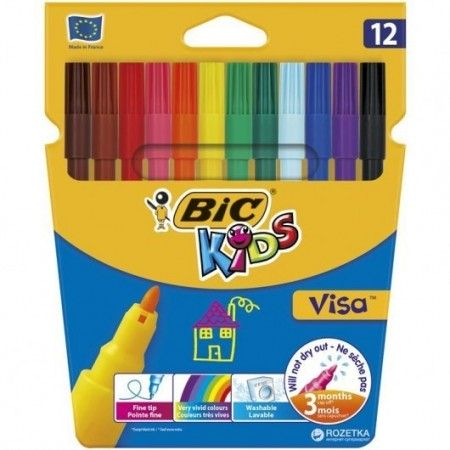 Pisaki, Flamastry Bic Kids Visa 12 kolorów