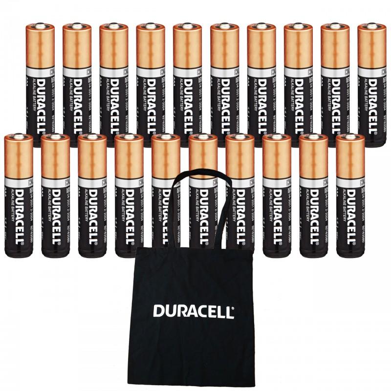 20 x alkaliczne baterie Duracell AAA / LR6 + TORBA