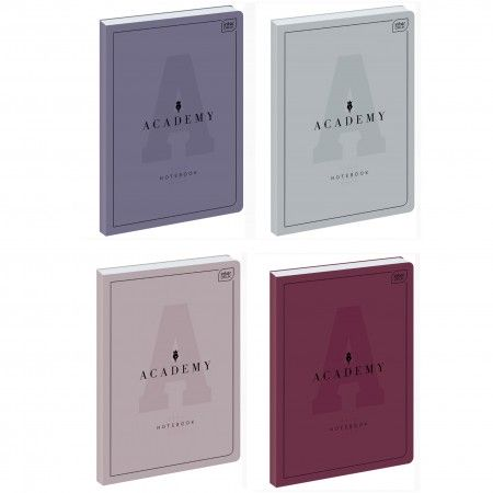 Brulion A4 96 kartek w kratkę, 1sztuka, mix kolorów seria Academy, marka Interdruk, oprawa półtwarda