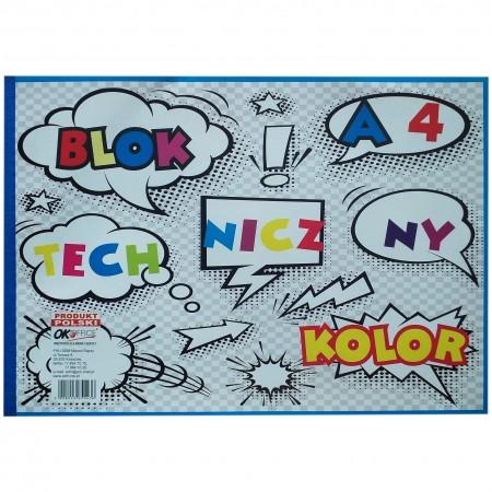 Blok techniczny w formacie A4 z kolorowymi karkami, dla najmłodszych.